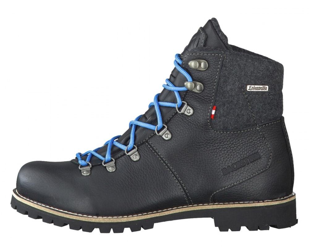 Страничен изглед на мъжки туристически кожени обувки Dachstein Gebirgsjäger Black