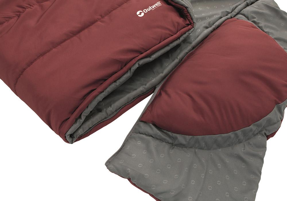 Разкопчаване на яка и възглавница спален чувал Outwell Contour Lux Red 2020