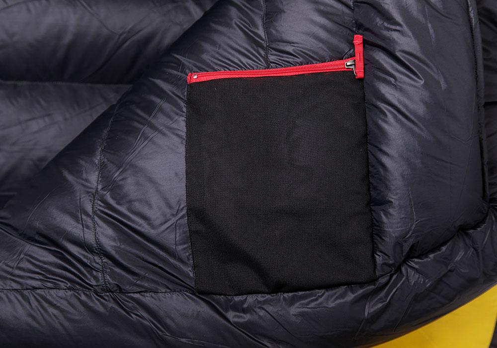 Вътрешен джоб на пухен спален чувал Warmpeace Viking 1200 Yellow / Grey 2020