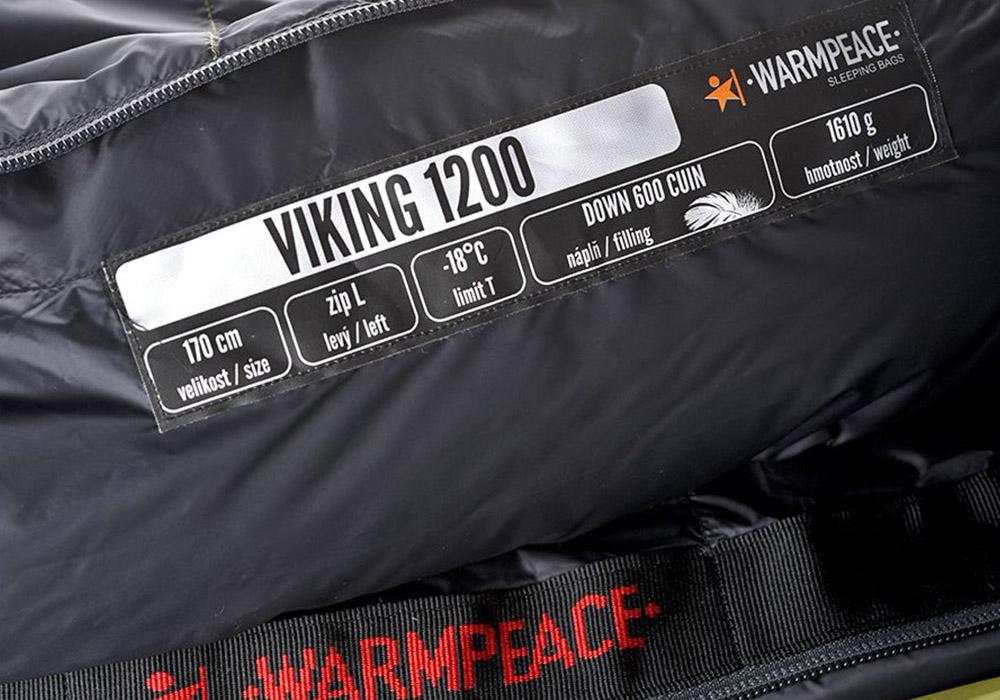 Етикет на пухен спален чувал Warmpeace Viking 1200 Hay / Steel 2020