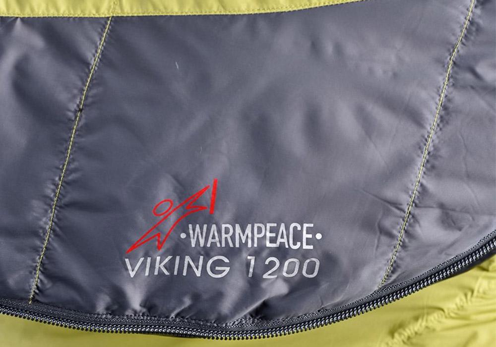 материя на пухен спален чувал Warmpeace Viking 1200 Hay / Steel 2020