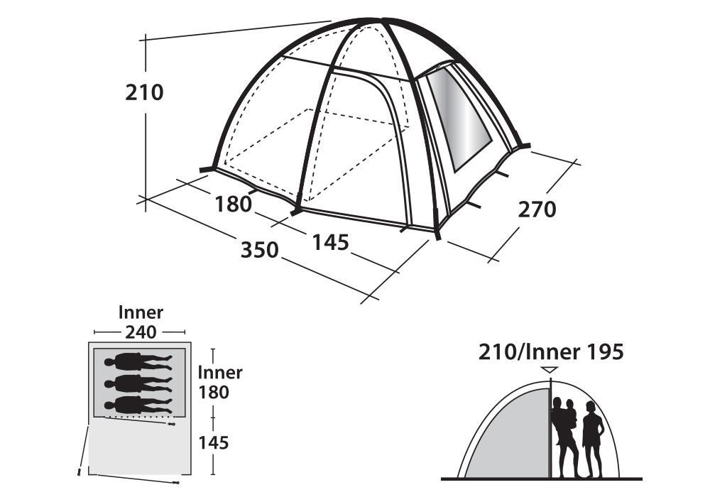 Триместна къмпинг палатка Outwell Arizona графика размери