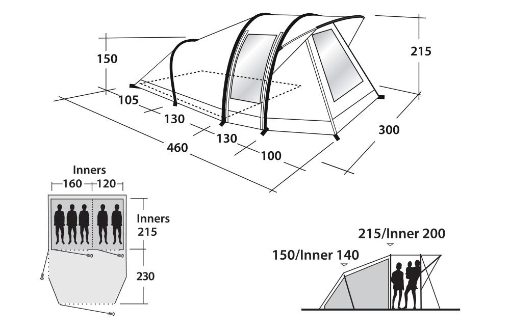 Размери спално и антре на Надуваема палатка Outwell Bayfield 5A модел 2018