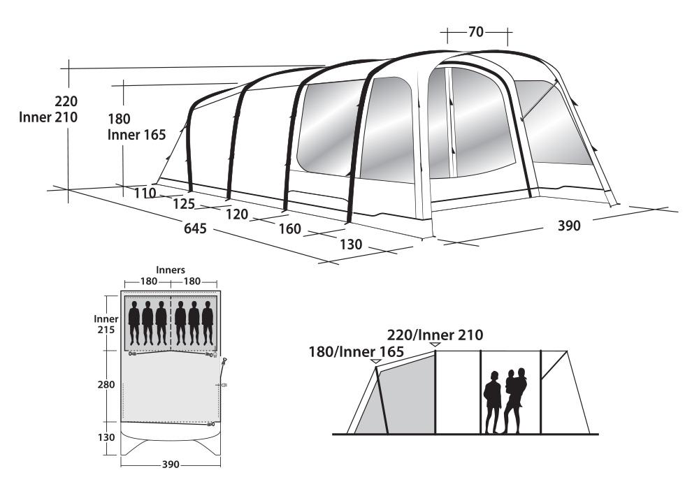 Графика на шестместна надуваема палатка Outwell Broadlands 6A 2019