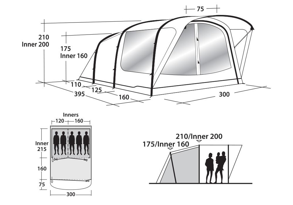 Графика размери на петместна надуваема палатка Outwell Cedarville 5A 2019