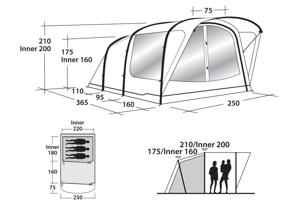Графика размери на триместна надуваема палатка Outwell Cedarville 3A 2019
