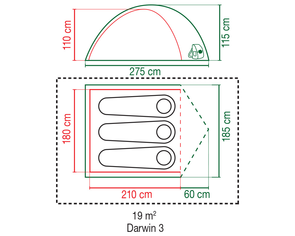 Туристическа триместна палатка Coleman Darwin 3 графика размери