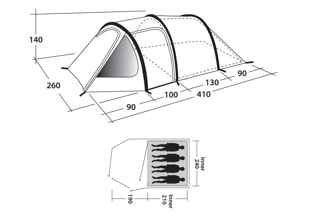 Графика размери четириместна палатка Outwell Earth 4