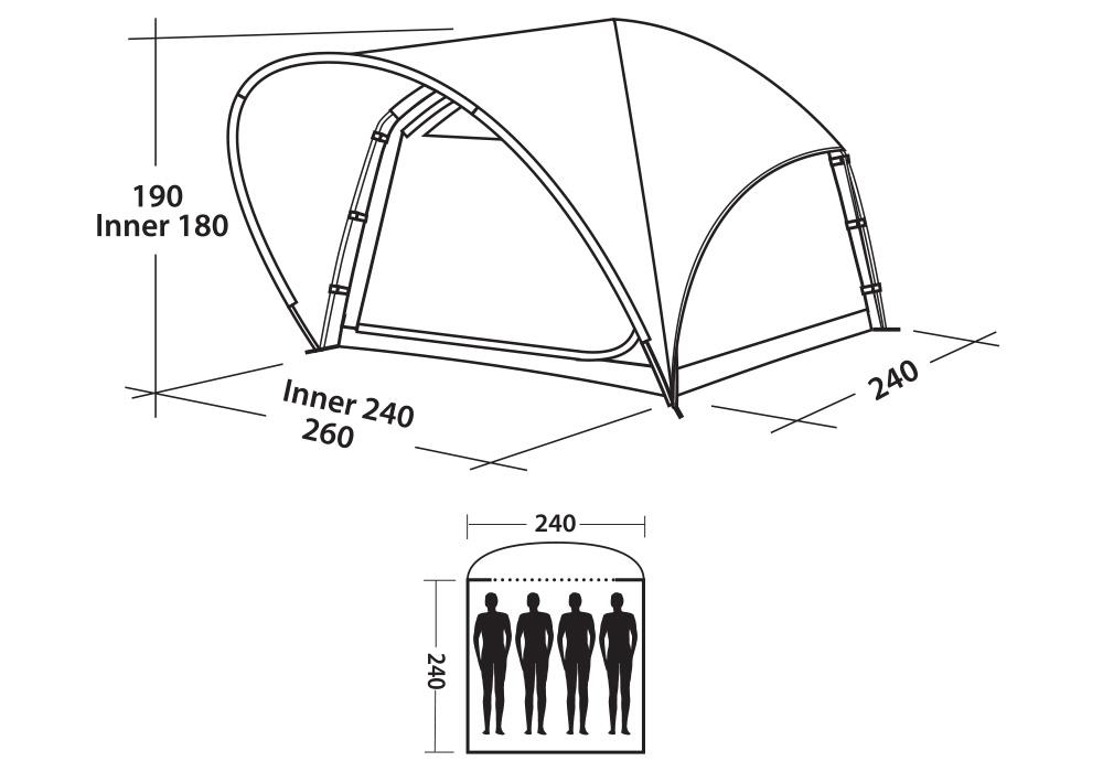 Графика размери на четириместна палатка Easy Camp Pavonis 400