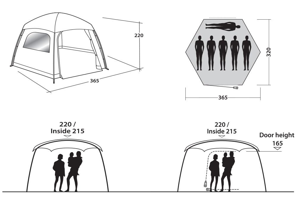 Графика - размери на юрта Easy Camp Moonlight Yurt 2021