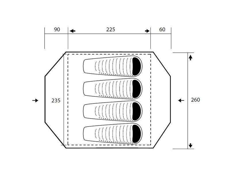 Графика на четириместна палатка Trimm Enduro 2021