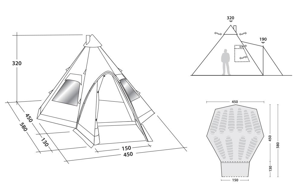 Размери на Десетместна типи палатка Robens Kiowa