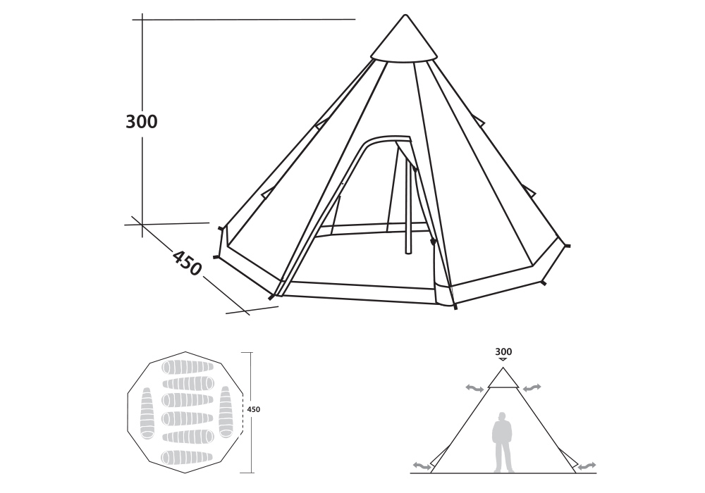 Графика размери на осемместна типи палатка Robens Field Station