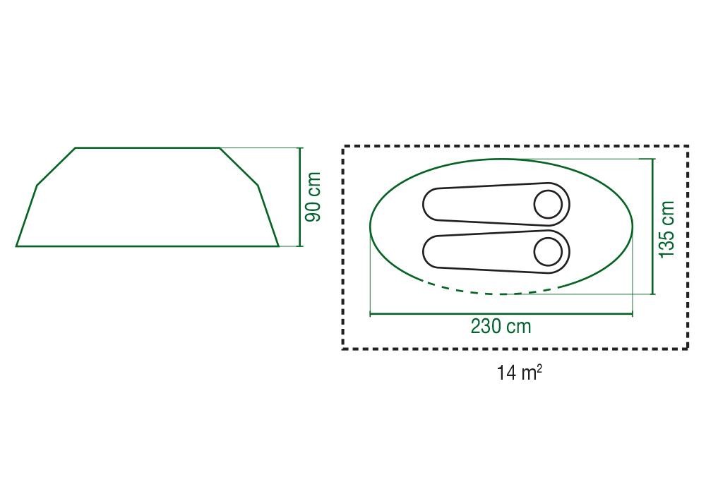 Графика размери на двуместна палатка Coleman Galiano 2 Pop Up Blue 2020