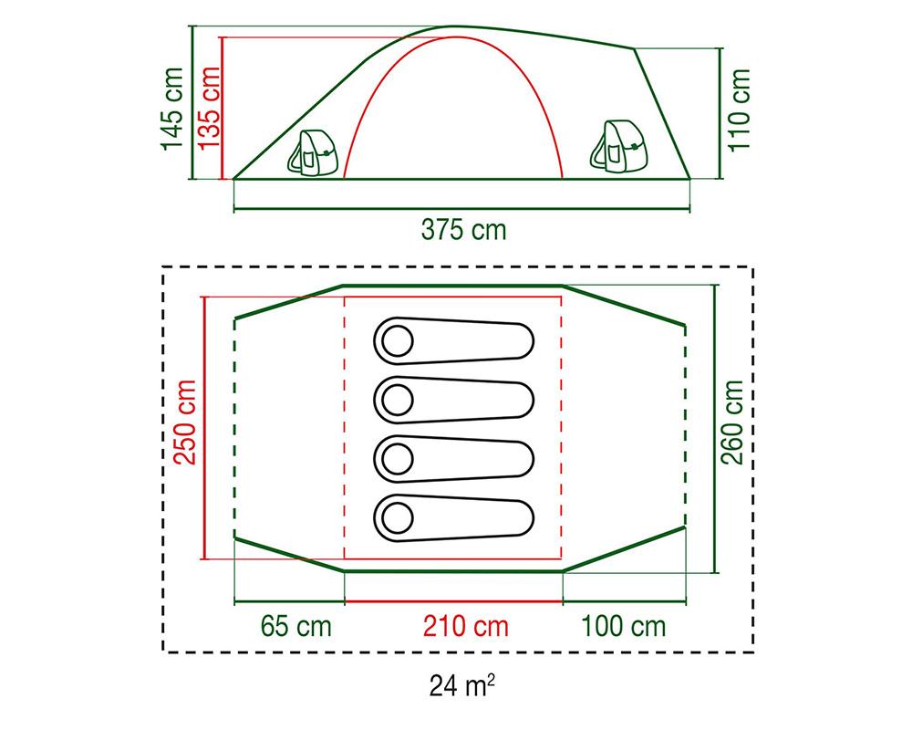 Палатка Coleman Hayden 4 2018 размери