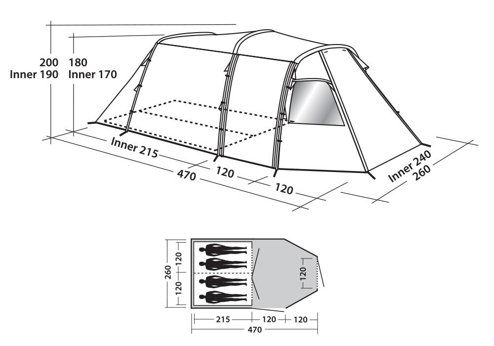 Графика размери на четириместна палатка Easy Camp Huntsville 400 2018