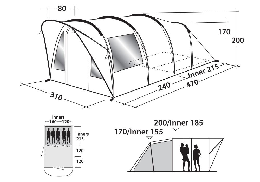 Графика с размери на петместна палатка за къмпинг Outwell Lawndale 500 модел 2019