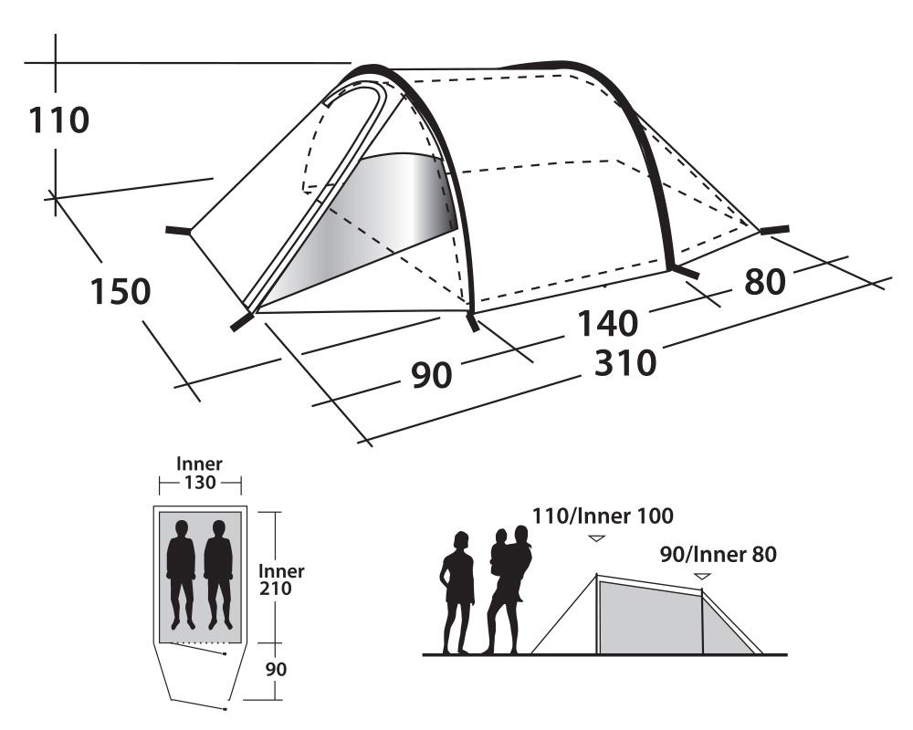 Двуместна палатка Outwell Earth 2 графика размери