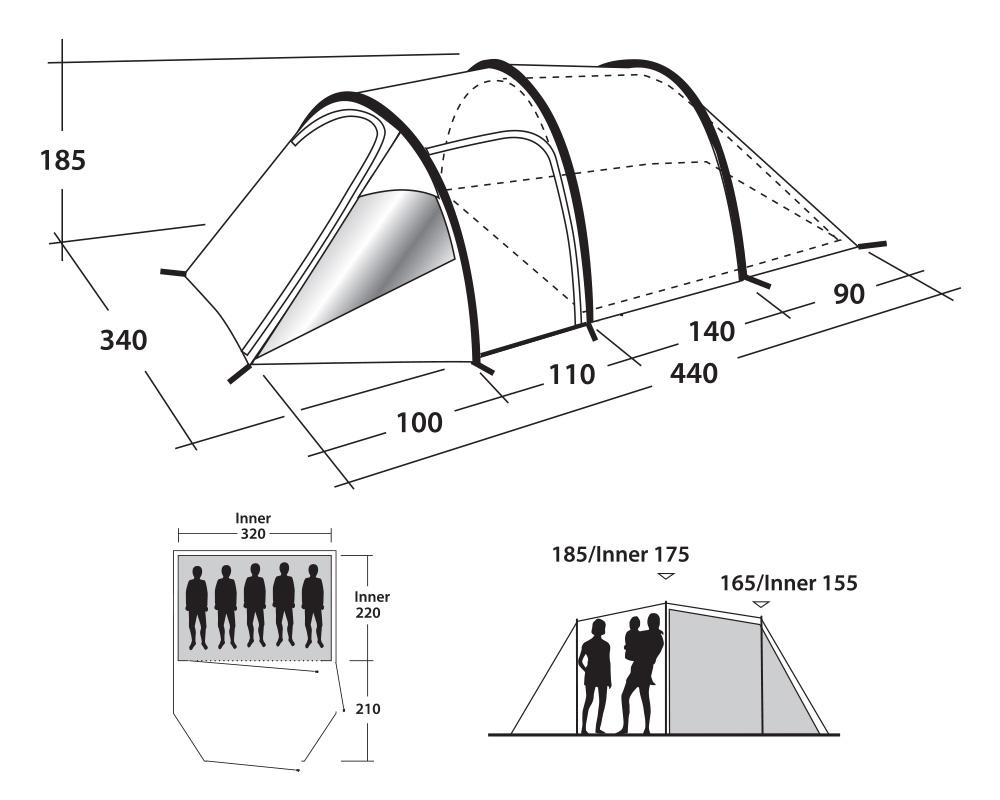 Петместна палатка Outwell Earth 5 размери