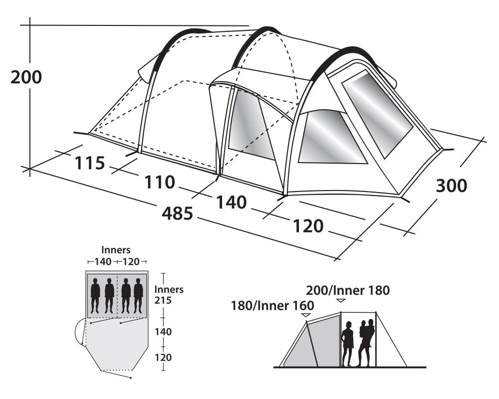 Графика размери четириместна палатка Outwell Nevada 4