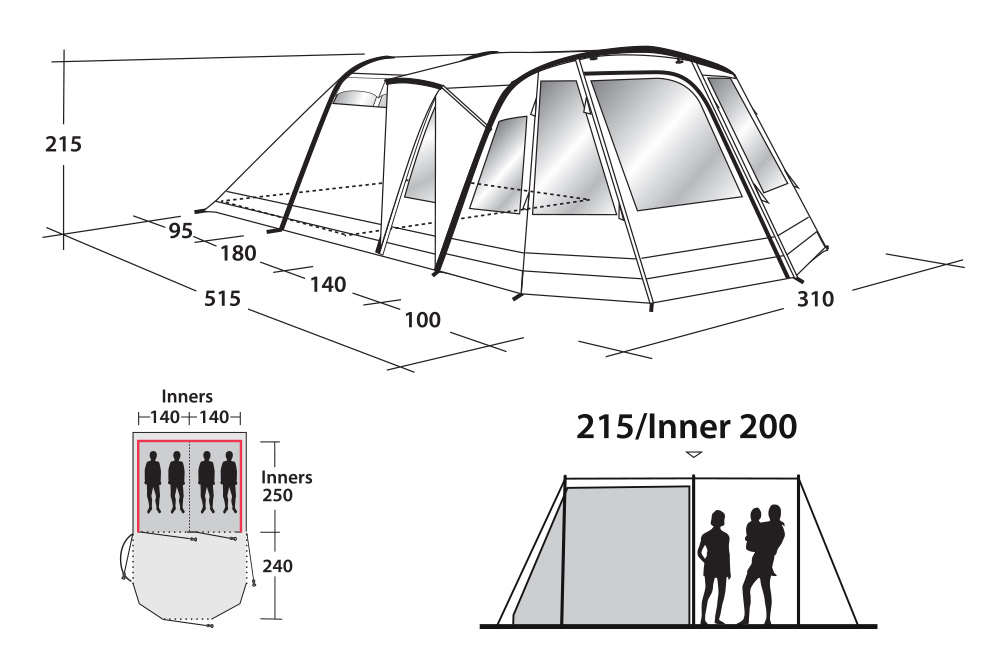 Размери на Надуваема палатка Outwell Nighthawk 4SA модел 2018