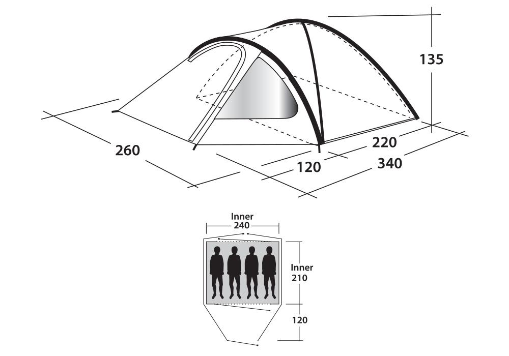 Размери на палатка Outwell Cloud 4
