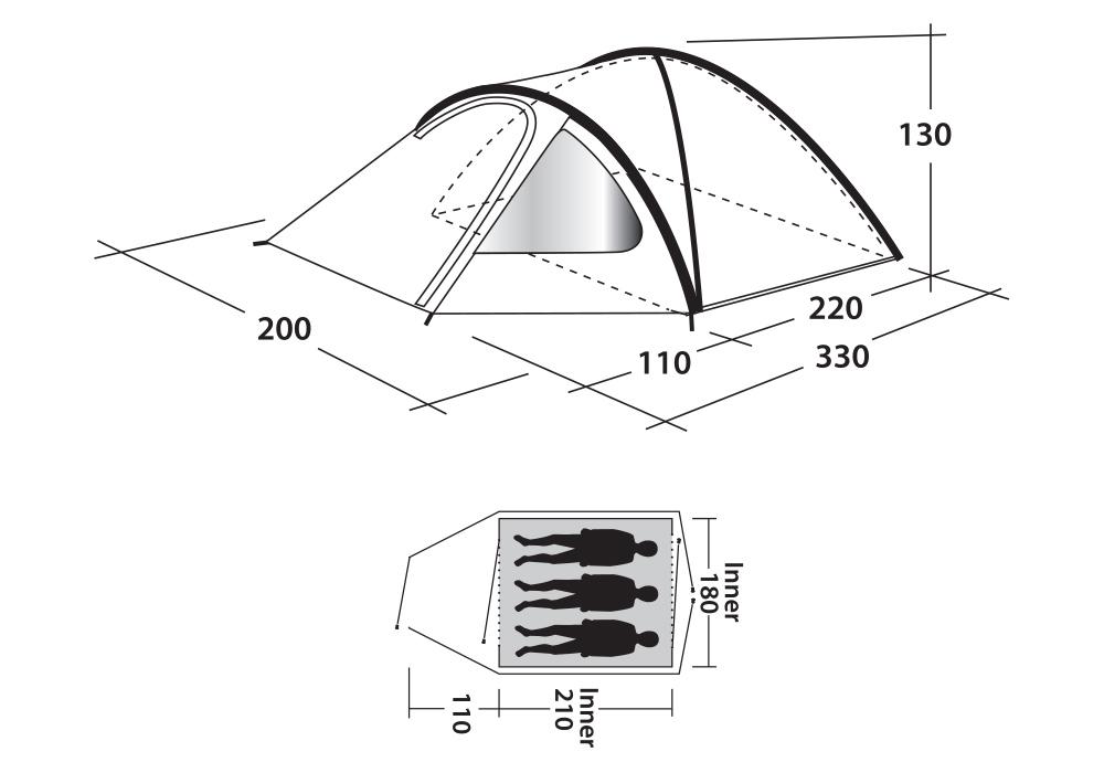 Графика размери на триместна палатка Outwell Cloud 3 модел 2019