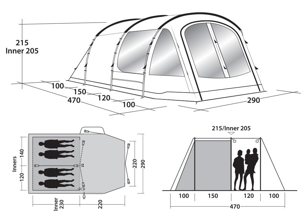 Графика размери на четириместна палатка Outwell Nevada 4P