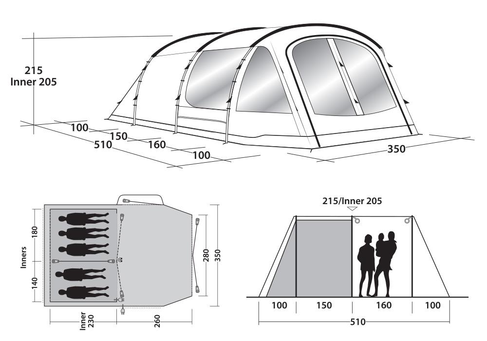 Графика размери на петместна палатка за къмпинг Outwell Nevada 5P модел 2019