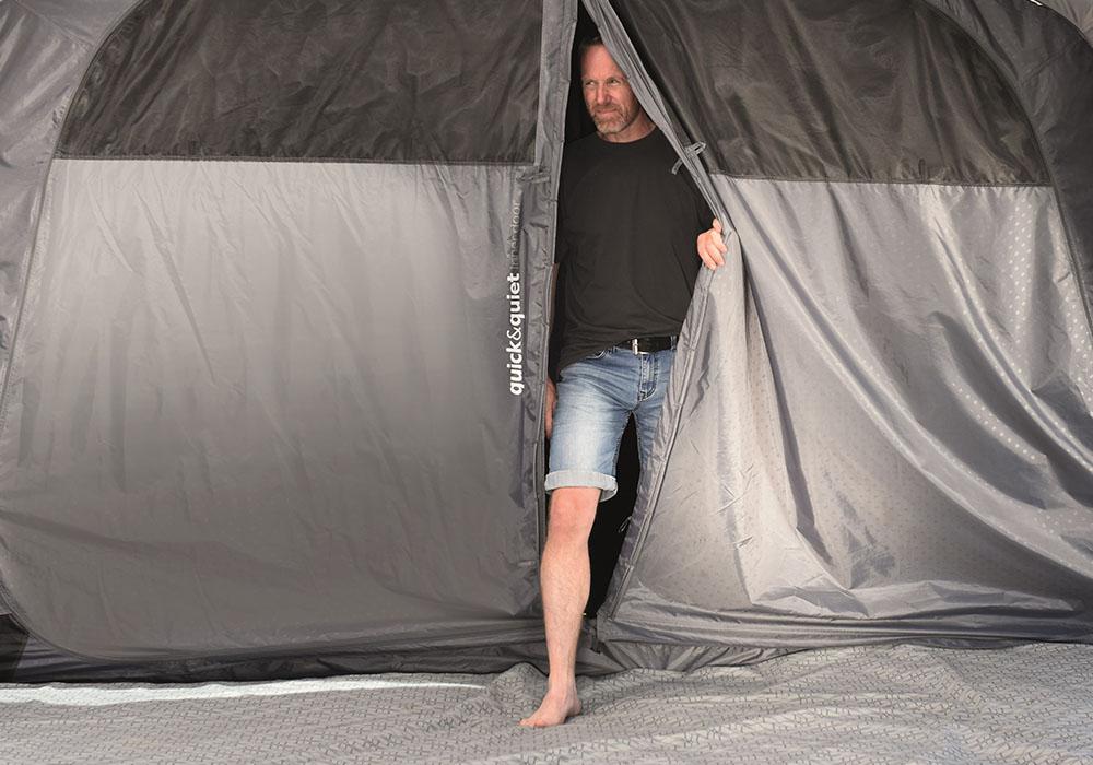 Голям фронтален вход на петместна палатка за къмпинг Outwell Nevada 5P модел 2019