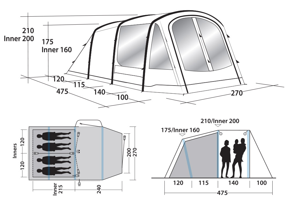 Размери на четириместна надуваема палатка Outwell Rosedale 4PA 2020