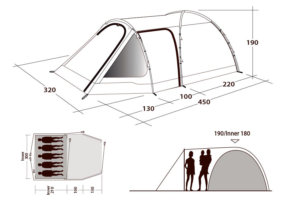 Размери на петместна палатка Outwell Cloud 5 Plus 2021