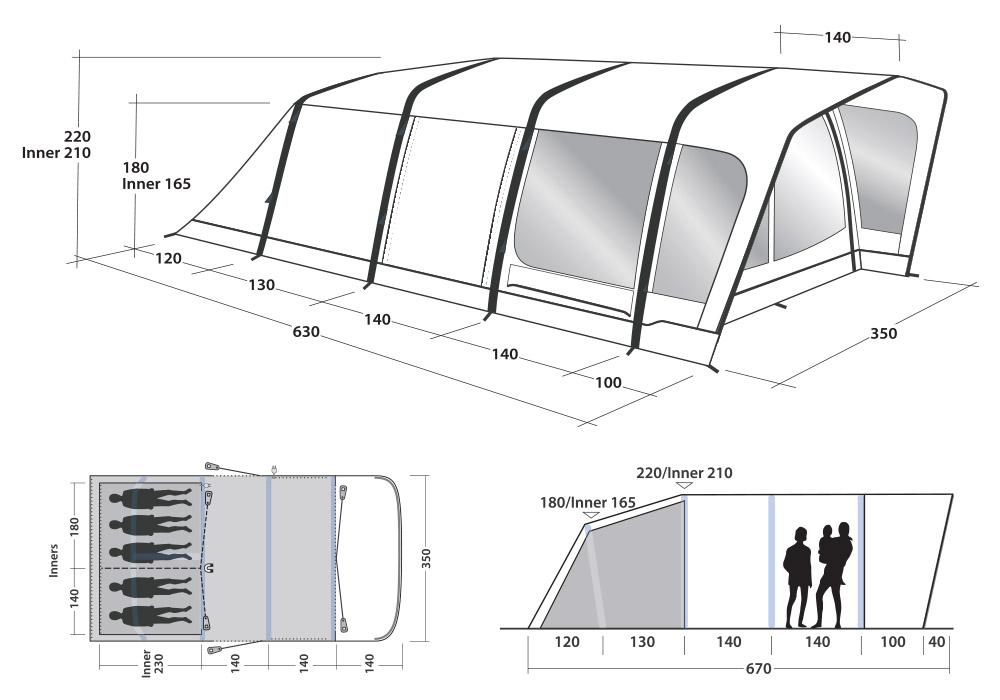 Размери на петместна надуваема палатка Outwell Hayward Lake 5ATC 2021