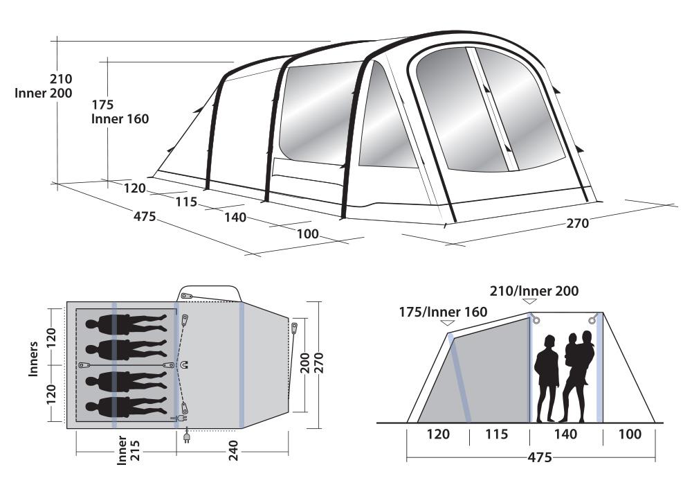 Размери на четириместна надуваема палатка Outwell Rosedale 4PA 2021