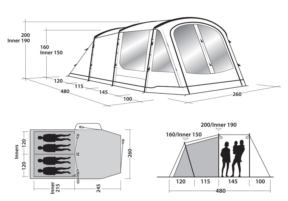 Графика размери на четириместна палатка Outwell Springwood 4 2021