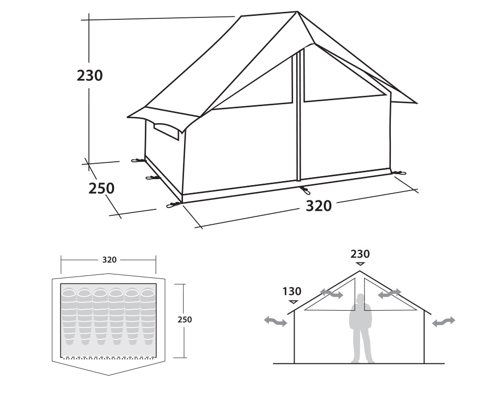 Размери на Палатка - колиба Robens Prospector Shack