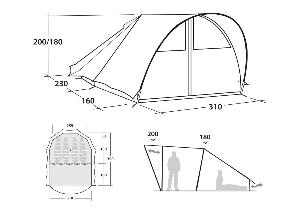 Графика размери на четириместна палатка Robens Trapper