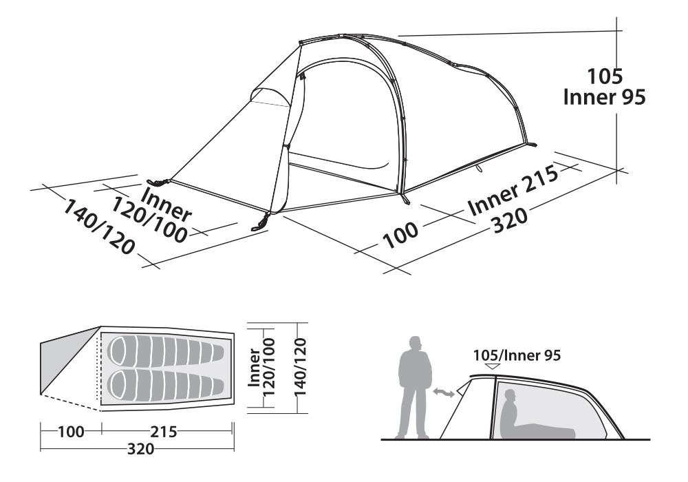 Графика на Двуместна палатка Robens Buck Creek 2 2020