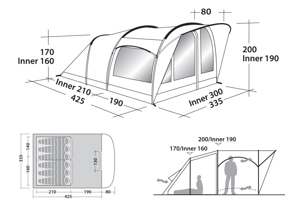 Размери на палатка Robens Cabin 600 модел 2010