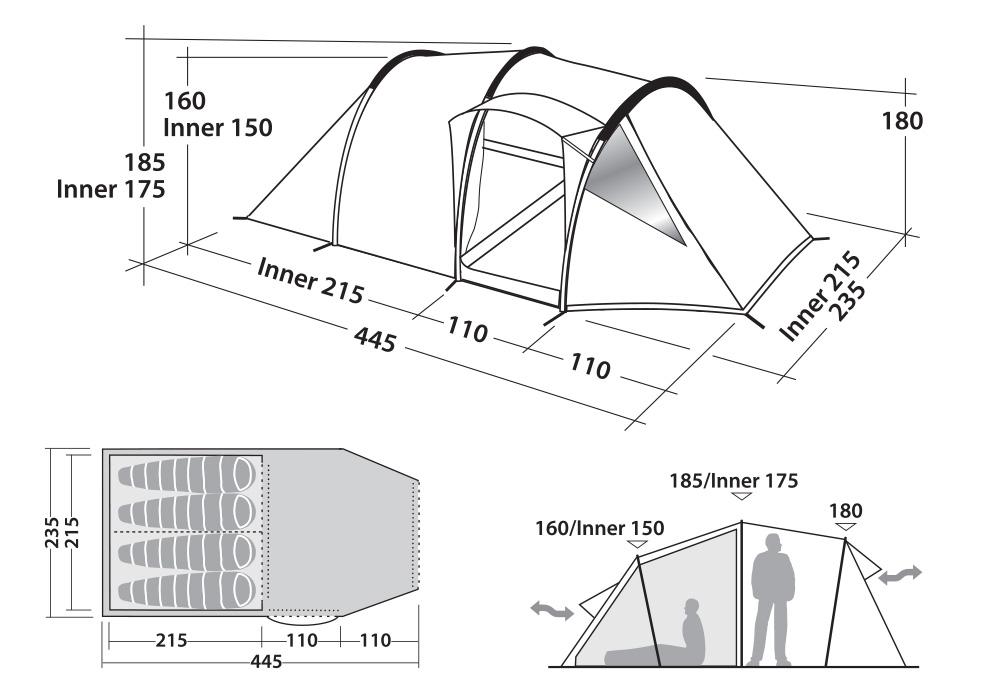 Размери на Четириместна палатка Robens Midnight Dreamer 2020
