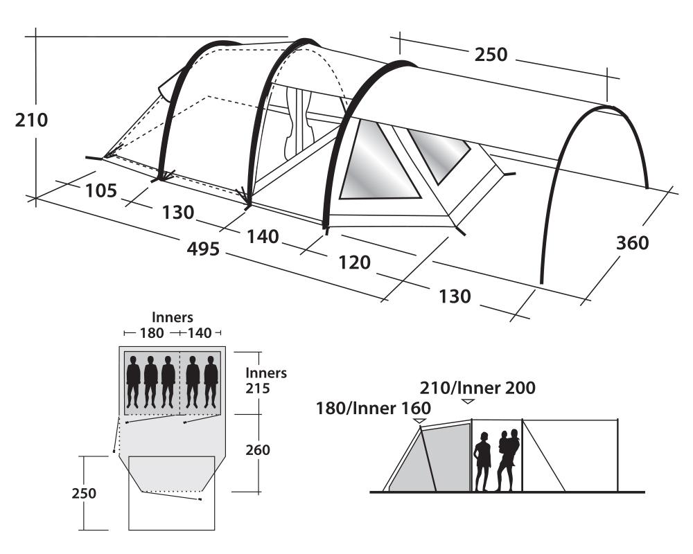 Графика размери надуваема палатка Outwell Roswell 5A