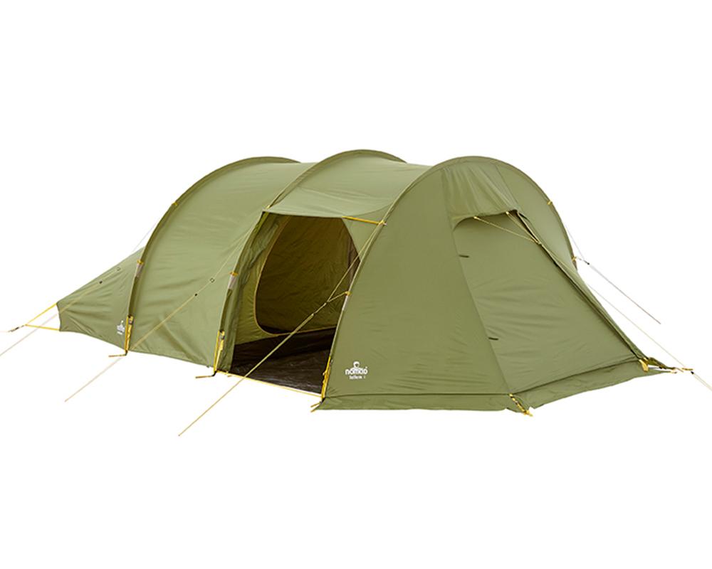 Страничен вход отворен на четириместна палатка Nomad Tellem 4 Calliste Green