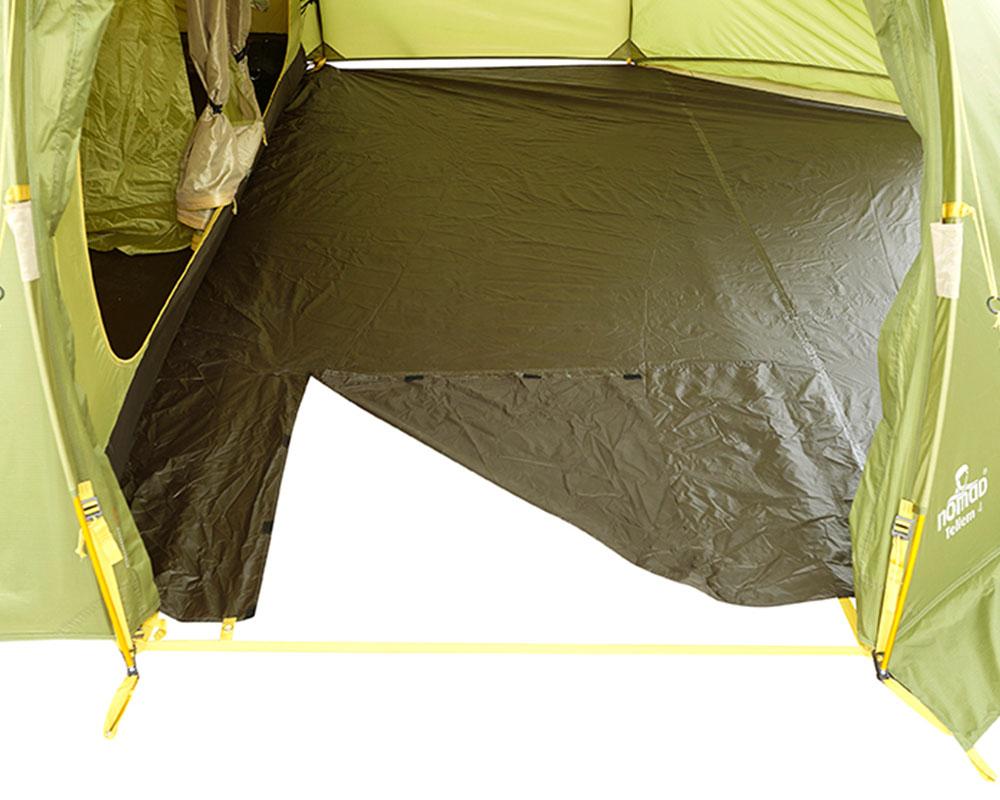 Разкачащ се под в антрето четириместна палатка Nomad Tellem 4 Calliste Green