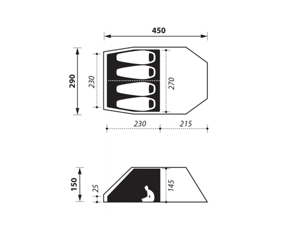 Графика размери на четириместна палатка Nomad Tellem 4 Calliste Green