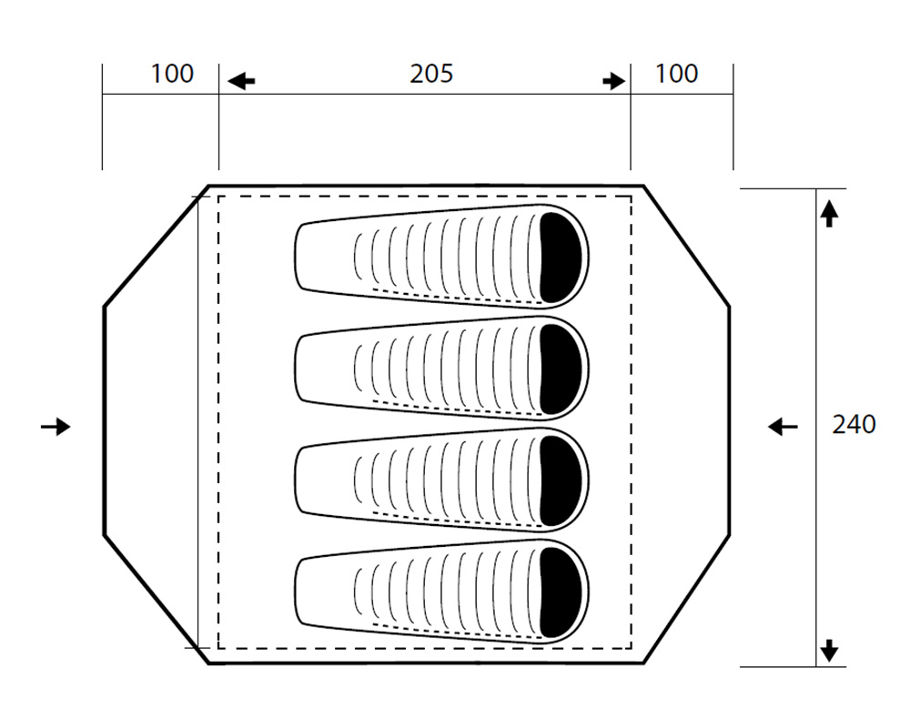 Графика размери на палатка Trimm Tornado