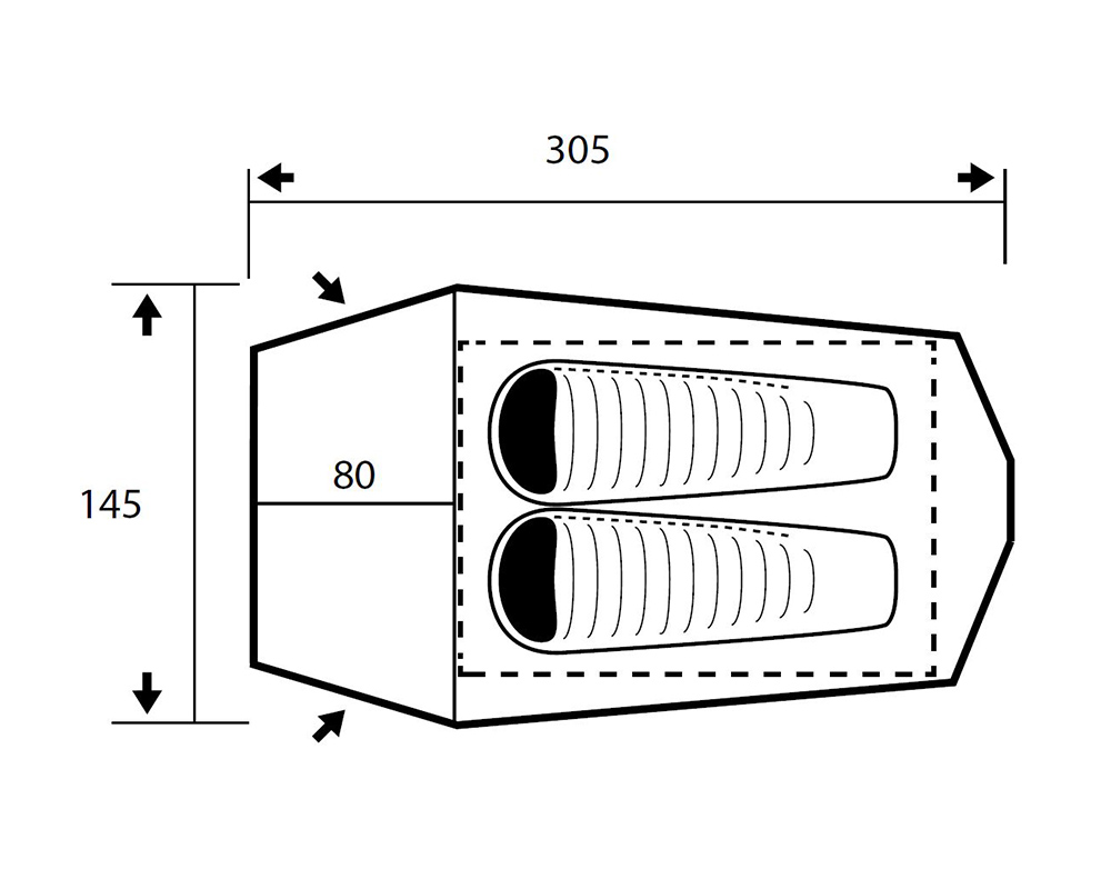 Графика размери на двуместна трекинг палатка Trimm Spark