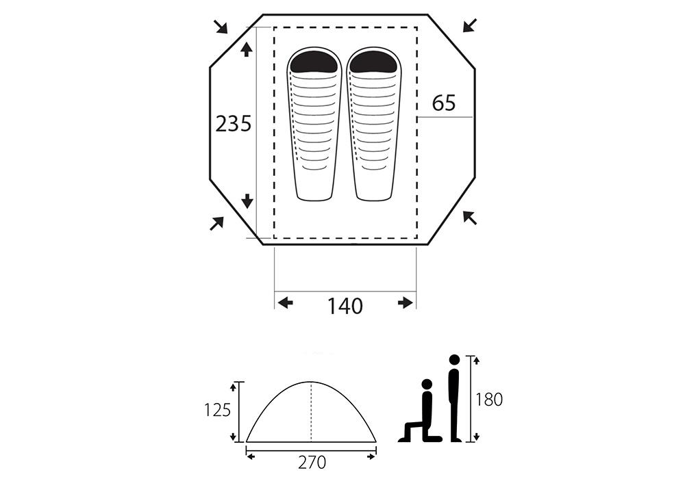 Графика размери на двуместна палатка Trimm Apolos-DSL 2019