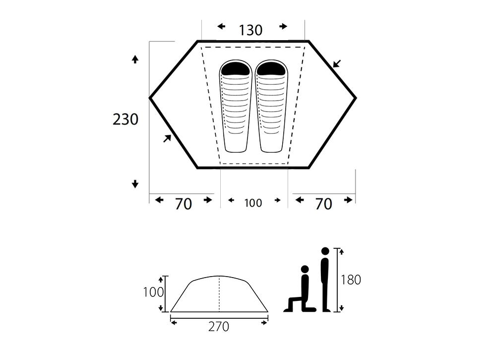 Графика на двуместна палатка Trimm Vector-DSL 2021