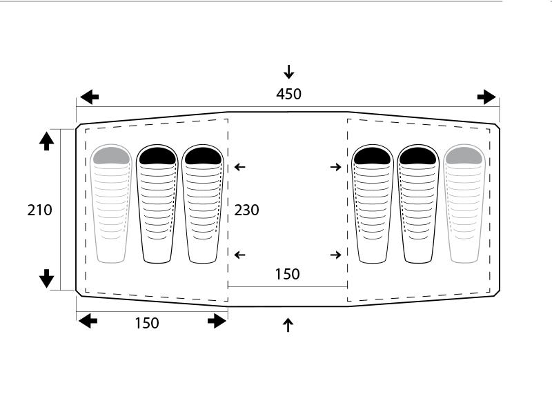 Графика на палатка Trimm Comfort II Dark Lagoon 2021