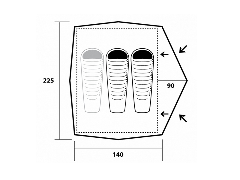 Графика на двуместна туристическа палатка Trimm Compact 201